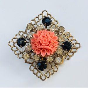Brooch vintage silver faux coral flower 🌸